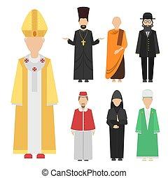 身に着けていること, 別, グループ, 特徴, 人々, 伝統的である, 宗教, ベクトル, 人間, 国籍, 衣服
