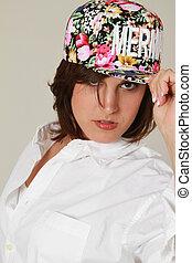 身に着けていること, 女性, 帽子, 美しい, 白