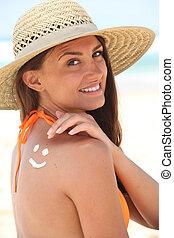 身に着けていること, 帽子, 女, 浜, sunscreen