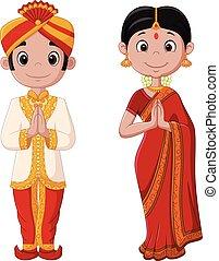 身に着けていること, 恋人, 伝統的である, インドの衣装, 漫画