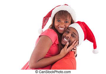 身に着けていること, 恋人, 若い, アメリカ人, santa, アフリカ, 帽子