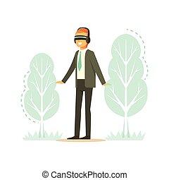 身に着けているヘッドホーン, 予測, 木, イラスト, 現実, vr, ベクトル, 森林, ビジネスマン, 技術, augmented