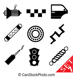 車の 部品, セット, 7, アイコン