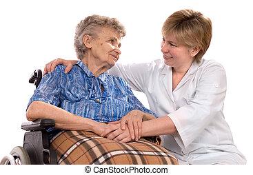 車椅子, 女, 年配