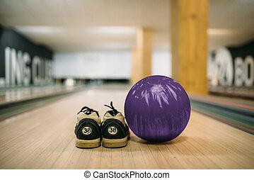 車線, ボール, 靴, 家, クローズアップ, ボウリング, 光景