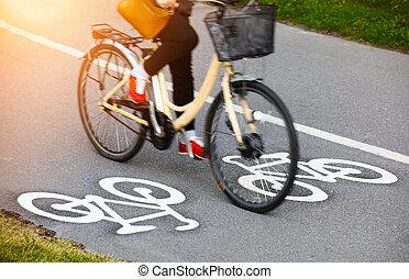 車線, 自転車