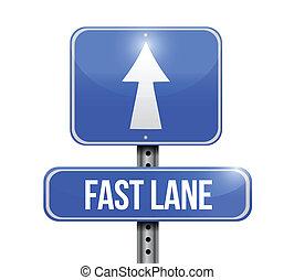 車線, 速い, 印, デザイン, イラスト, 道