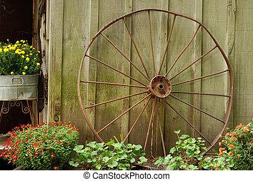 車輪, ワゴン, 納屋, 古い, 傾倒