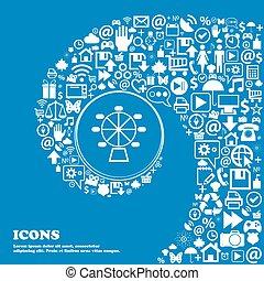 車輪, 美しい, セット, 中心, アイコン, twisted, らせん状に動きなさい, 1(人・つ), 大きい, フェリス, ベクトル, icon., すてきである, アイコン