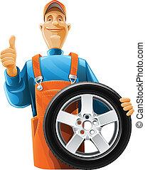 車輪, 自動車修理工