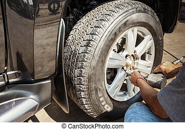 車輪, 自動車, ブレーキ, ジャッキ, 変化する