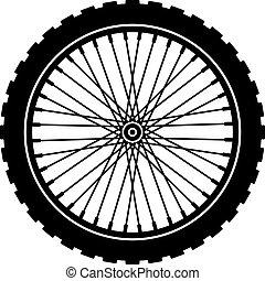 車輪, 黒, 自転車, シルエット, ベクトル