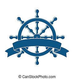 車輪, banner., emblem., ベクトル, 海事, 船