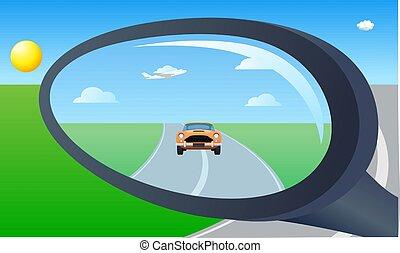車 ミラー, 車, 光景