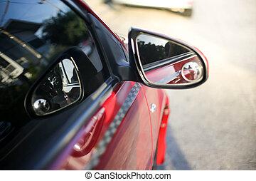 車。, 後部, 赤, 光景