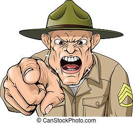 軍隊, 怒る, 叫ぶこと, 巡査部長, ドリル, 漫画