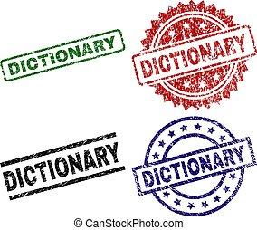 辞書, 切手, シール, textured, 傷つけられる