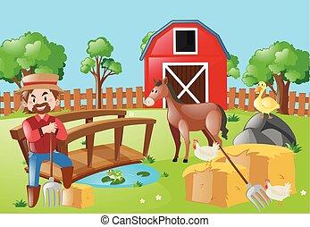 農場のフィールド, 動物, 農夫