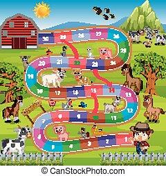 農場, ゲームボード, 背景