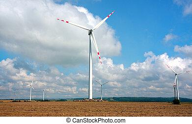 農場, タービン, エネルギー, -, 源, 選択肢, 風