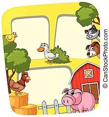 農場, フレーム, 動物, テンプレート