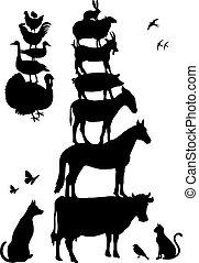 農場, ベクトル, セット, 動物