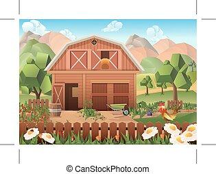 農場, ベクトル, 背景