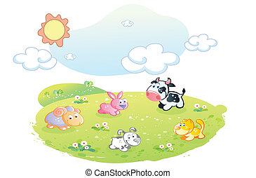 農場, ポーズを取る, 動物, 庭