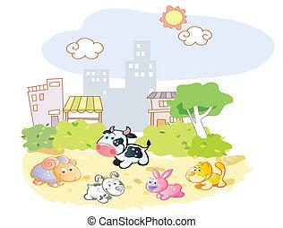 農場, 公園, 動物, 遊び