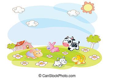 農場, 夏, 動物