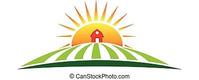 農場, 太陽, 農業, ロゴ