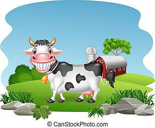 農場, 幸せ, 背景, 牛, 漫画