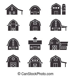 農場 建物, セット, アイコン