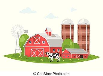農場 建物, 田園, -, 納屋