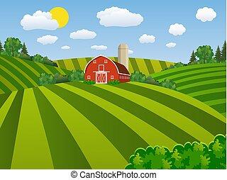 農場, 播くこと, 緑, 漫画, フィールド