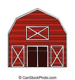 農場, 木製である, 建物, 漫画, 納屋