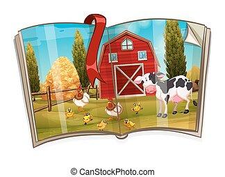 農場, 本, 動物, 現場
