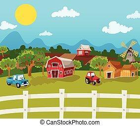 農場, 漫画, 背景