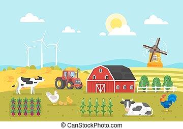 農場, 牛, chicken.
