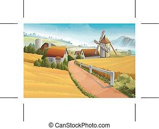 農場, 田園, ベクトル, 風景, 背景