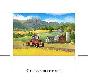 農場, 田園 景色, ベクトル, 背景