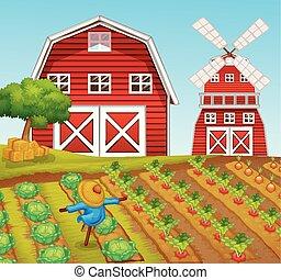 農場, 田園 景色, 納屋