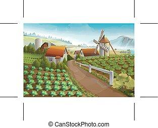 農場, 田園 景色, 背景