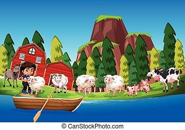 農場, 男の子, 動物, 現場