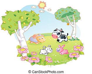 農場, 花, 動物, 庭