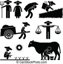 農場, 農業, 労働者, 農夫
