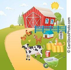 農場, 項目, 動物, イラスト, 鳥