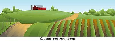 農場, 風景, イラスト