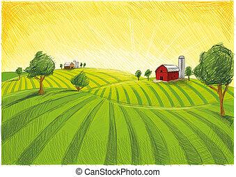 農場, 風景, 赤