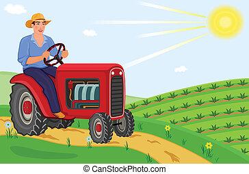 農夫, トラクター, 運転, 彼の